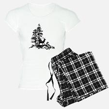 Black White Stag Deer Animal Nature pajamas