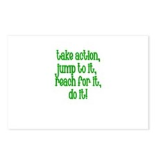 Take Action, Jump to it, reac Postcards (Package o