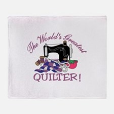 The Worlds Greatest Quilter Throw Blanket