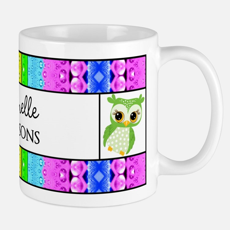 Green Polka Dots Owl Personalized Name Mug
