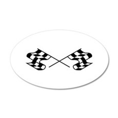 Crossed Racing Flags Wall Decal