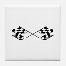 Crossed Racing Flags Tile Coaster