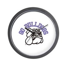 Go Bulldogs (with border) Wall Clock
