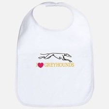 I Love Greyhounds Bib