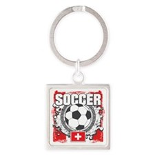 Switzerland Soccer Square Keychain