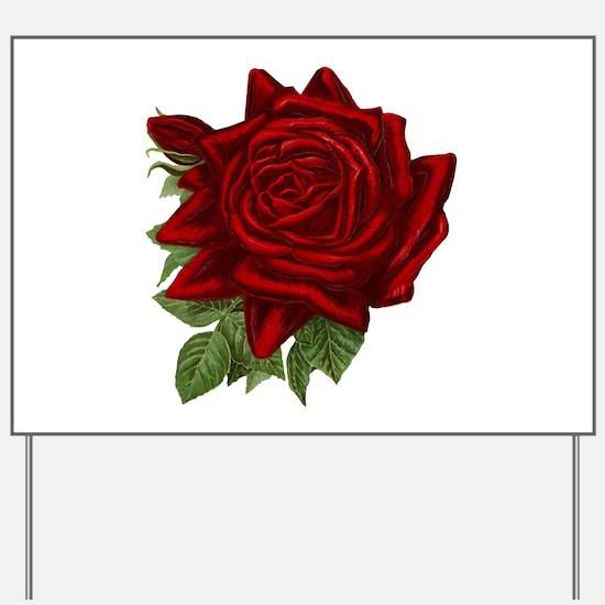 Vintage Red Rose Yard Sign