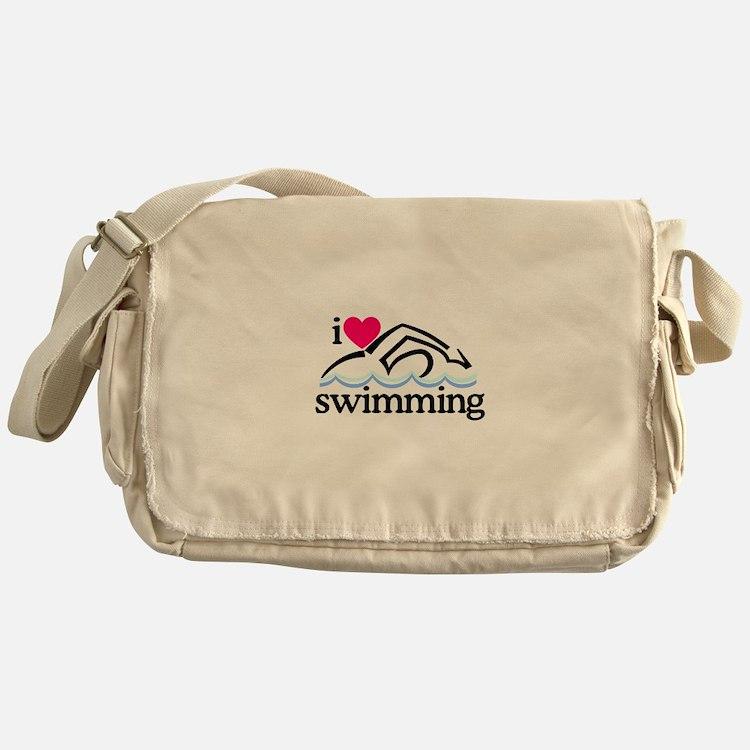 I Love Swimming/Swimmer Messenger Bag