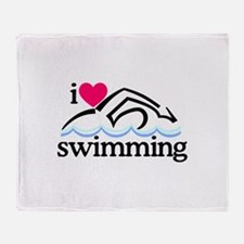 I Love Swimming/Swimmer Throw Blanket