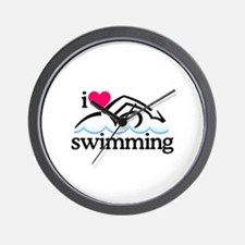 I Love Swimming/Swimmer Wall Clock