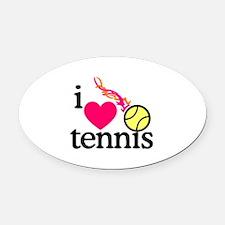 I Love Tennis/Ball Oval Car Magnet