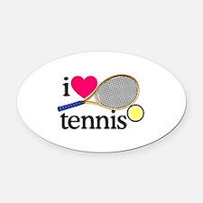 I Love Tennis/Racquet Oval Car Magnet