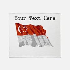 Singapore Flag (Distressed) Throw Blanket