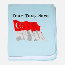 Singapore Flag (Distressed) baby blanket