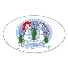 Holiday Snowmen Oval Decal