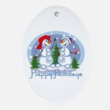 Holiday Snowmen Keepsake (Oval)