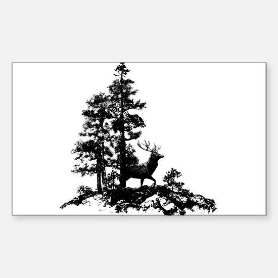 Black White Stag Deer Animal Nature Decal