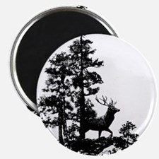 Black White Stag Deer Animal Nature Magnets