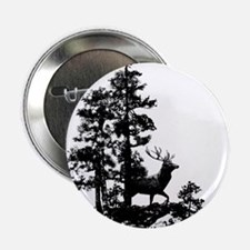 "Black White Stag Deer Animal Nature 2.25"" Button ("