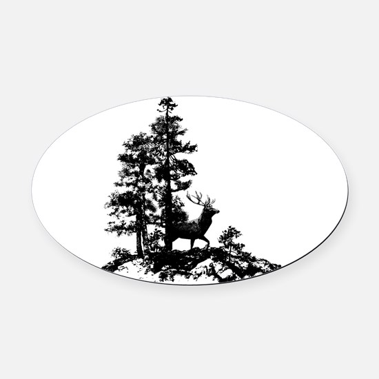 Black White Stag Deer Animal Nature Oval Car Magne