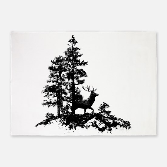 Black White Stag Deer Animal Nature 5'x7'Area Rug