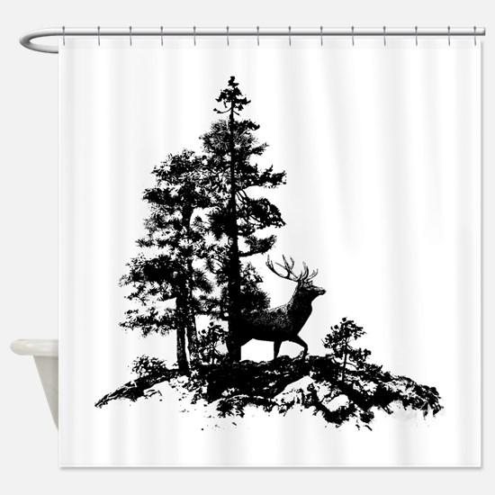 Black White Stag Deer Animal Nature Shower Curtain