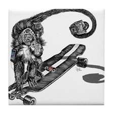 Simian Skateboarder Tile Coaster
