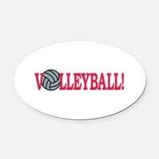 Volleyball text Oval Car Magnet