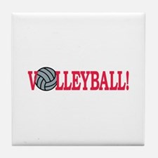 Volleyball text Tile Coaster