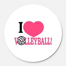 I Love Volleyball! Round Car Magnet