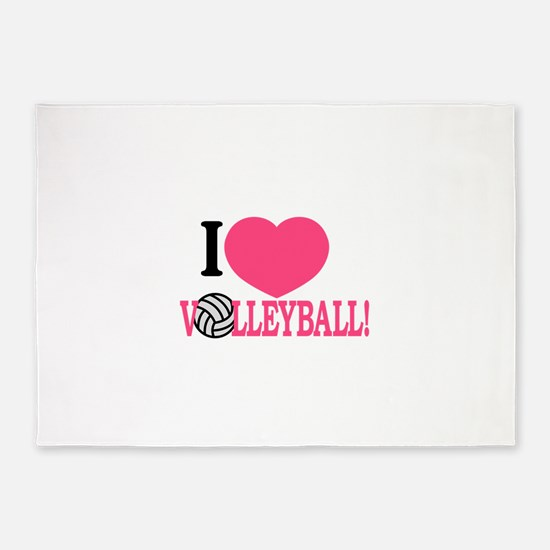 I Love Volleyball! 5'x7'Area Rug
