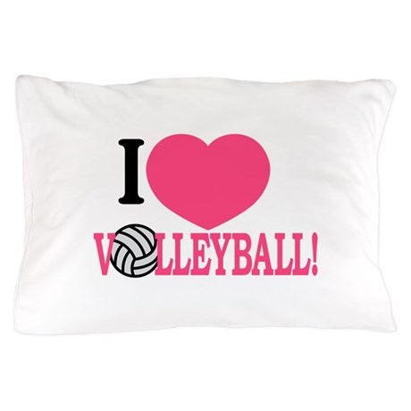I Love Volleyball! Pillow Case by GrandSlamDesigns04