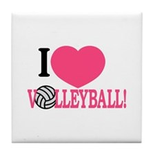 I Love Volleyball! Tile Coaster