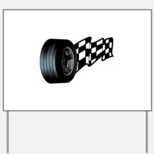 Tire with Flag Yard Sign