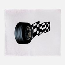 Tire with Flag Throw Blanket