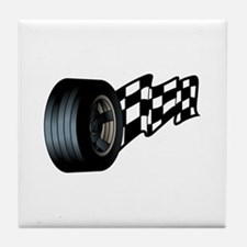 Tire with Flag Tile Coaster