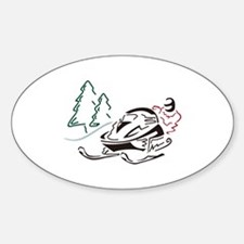 Snowmobiler Pine Trees Decal
