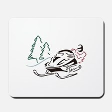 Snowmobiler Pine Trees Mousepad