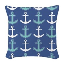 Nautical Anchor Pattern Navy Blue and Teal Woven T