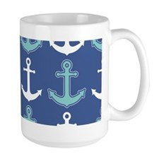 Nautical Anchor Pattern Navy Blue and Teal Mugs