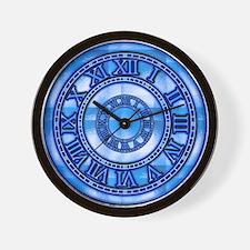 Neon Blue Roman Wall Clock