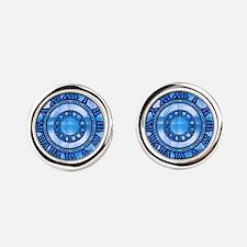 Neon Blue Roman Round Cufflinks