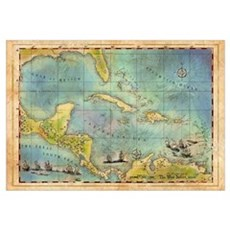 Caribbean Pirate + Treasure Map 1660 (Colored) Framed Print