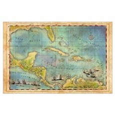 Caribbean Pirate + Treasure Map 1660 (Colored) Poster