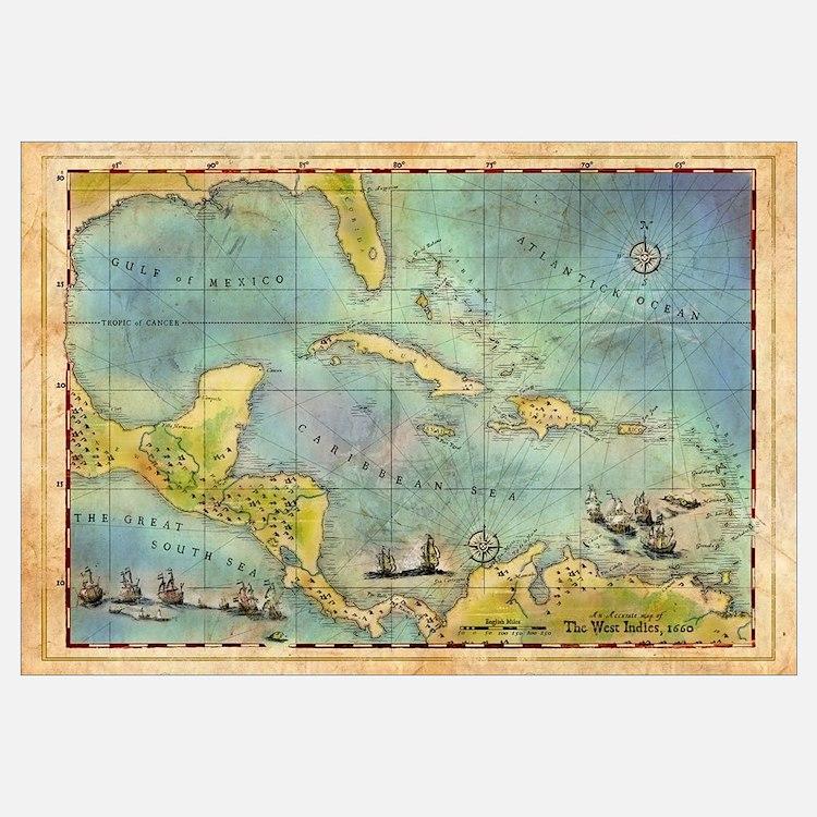 Caribbean Pirate + Treasure Map 1660 (Colored)