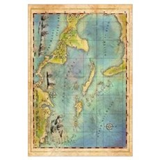 Caribbean Pirate + Treasure Map 1660 (Colored) Pos Framed Print