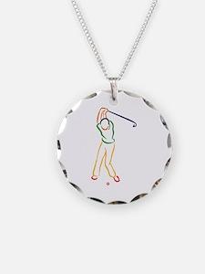 Golfer Outline Necklace