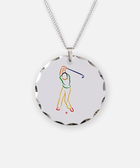 Golfer Outline Necklace