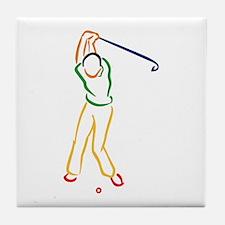 Golfer Outline Tile Coaster