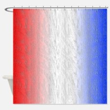 Red White and Blue Stripe Shower Curtain