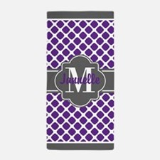 Monogrammed Purple & Grey Quatrefoil Beach Towel